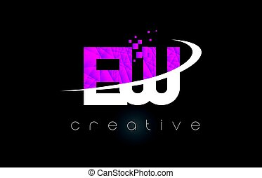 EW E W Creative Letters Design With White Pink Colors - EW E...