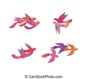 Paper craft watercolor colorful tropical birds, set of bird...