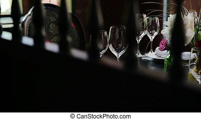 Festive wedding table. - Festive table served dishes and...