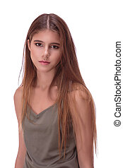 Portret of young woman with brown hair