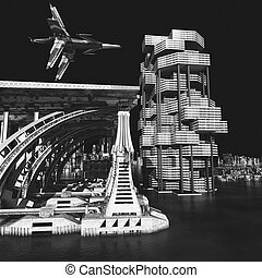 futuristic city with the modern skyscraper 3D rendering -...
