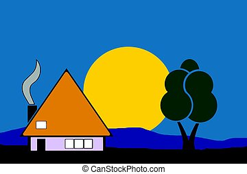 night house vector in the nature