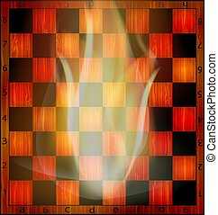 fire and chessboard - abstract empty wooden chessboard and...