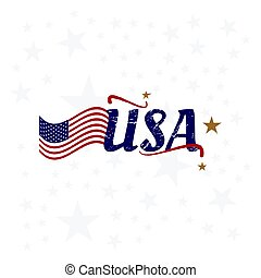 USA lettering with flag. Vintage label badge with retro style and grunge texture. Flat vector illustration EPS10