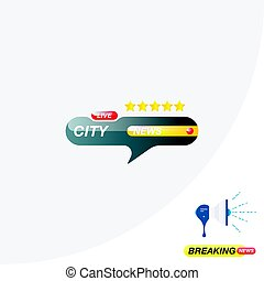 City news, icon for journalism of news TV channels and a loudspeaker on the background. Flat vector illustration EPS 10