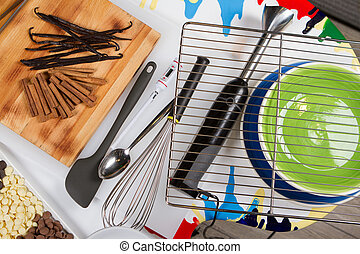 Bakery And Cooking Tools. color plates. Top View. White Table.
