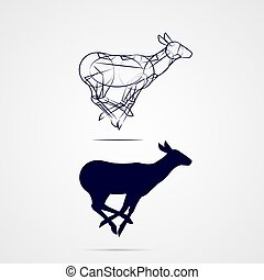 Deer Silhouette - Young Deer Silhouette with Sketch Running...