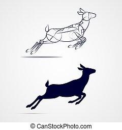 Deer Silhouette - Illustration of Running Female Deer...