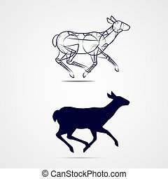 Deer Silhouette - Young Female Deer Silhouette with Sketch...