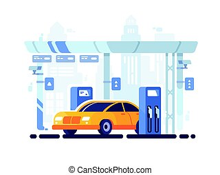 Car fueled at gas station