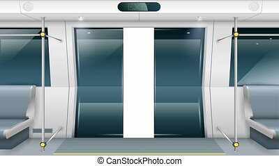 Subway car doors - Sliding doors of modern subway car with...