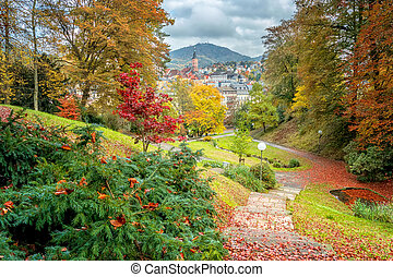 Beautiful autumn city landscape. Baden Baden. Germany