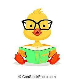 Little yellow duck chick in glasses sitting and reading...