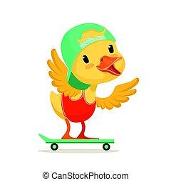 Little yellow duck chick in blue cap skateboarding, cute...