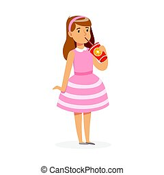 Cute girl in pink dress drinking a fresh juice through a straw, colorful character vector Illustration