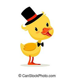 Little yellow duck chick in top hat and bow tie, cute emoji...