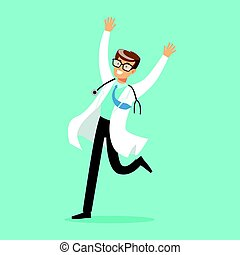 Happy doctor character jumping with arms raised vector Illustration
