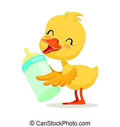 Little yellow duck chick holding a bottle of milk, cute emoji character vector Illustration