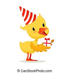 Little yellow duckling in a party hat holding gift box, cute...