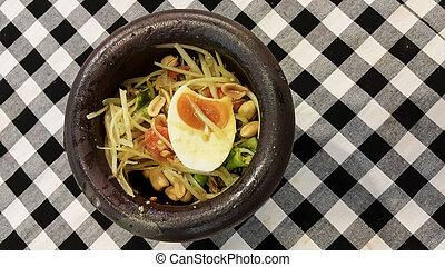 Thai style spicy food, Som Tum Thai.