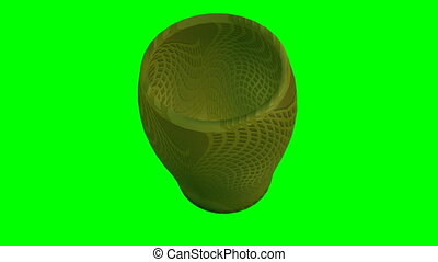 3d object artistically decorated glass with golden texture rotating on green screen
