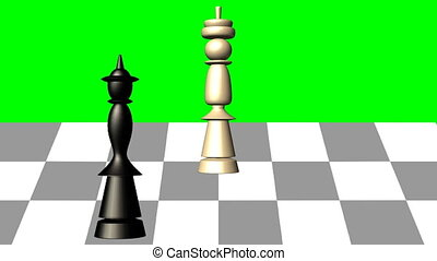 3d chess scene, black queen gives the mat to the white king, animation on green screen