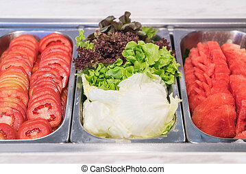 buffet salad bar in restaurant - healthy food