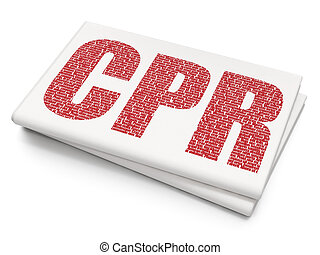 Healthcare concept: CPR on Blank Newspaper background -...