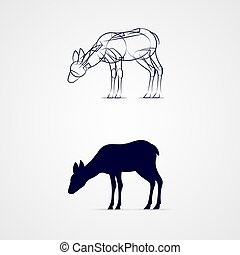 Deer Silhouette - Young Deer Silhouette with Sketch Template...
