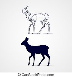 Deer Silhouette - Young Deer Silhouette Standing with Sketch...