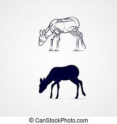 Deer Silhouette - Grazing Female Deer Silhouette with Sketch...