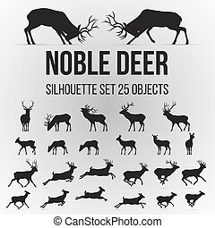 Deer Silhouettes - Illustration with Deer Silhouettes...