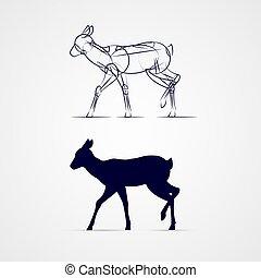 Deer Silhouette - Standing Deer Silhouette with Sketch...