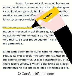 Yellow highlighter, highlight line, flat design vector