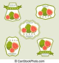 The green guava - Vector illustration logo for whole ripe...