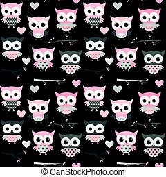 Cute seamless pattern with pink and grey owl characters on black background