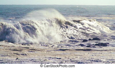 slow motion waves - breaking storm swell on the ocean
