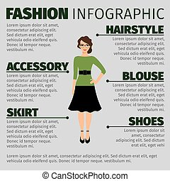 Fashion infographic with young female teacher - Fashion...