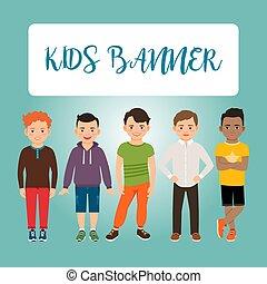 knaben, Kinder,  Banner