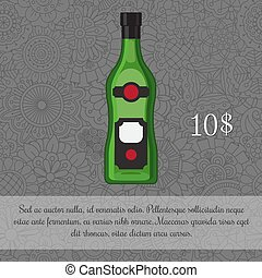 Alcoholic beverage Vermouth card template with price and...