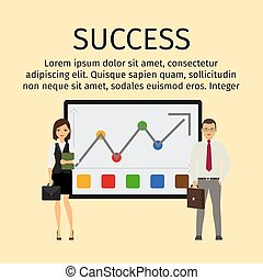 Success infographic with business people