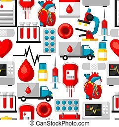 Seamless pattern with blood donation items. Medical and health care objects