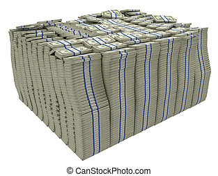 Much money. Large stack of US dollars isolated