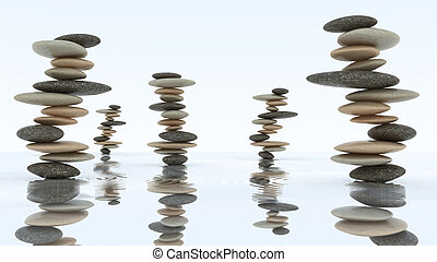 Stability and harmony. Pebble stacks on water