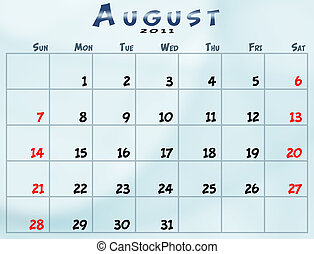 Monthly calendar - August 2011 Calendar from sunday to...