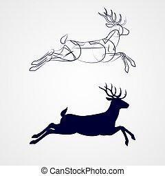 Deer Silhouette - Illustration of Running Horned Deer...