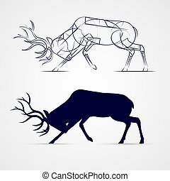Deer Silhouette - Horned Deer Silhouette with Sketch...