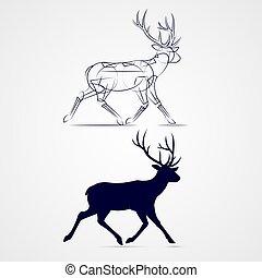 Deer Silhouette - Running Horned Deer Silhouette with Sketch...