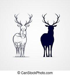 Deer Silhouette - Standing Horned Deer Silhouette with...
