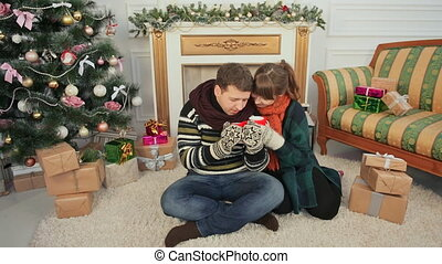 Christmas and New Year themes. A young couple enjoys each other for cupping hot coffee. A room with a Christmas tree and a fireplace.